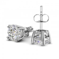 Double Prong Diamond Stud Earrings In 18k White Gold