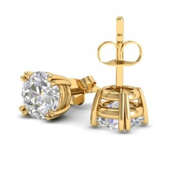Double Prong Diamond Stud Earrings In 18k Yellow Gold