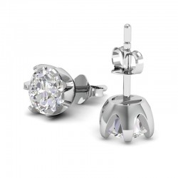 Rose Solitaire Studs In 18k White Gold