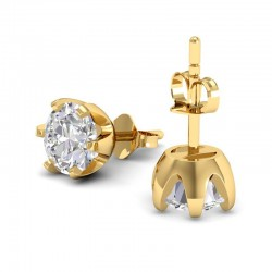 Rose Solitaire Studs In 18k Yellow Gold