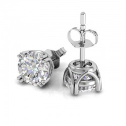 Vintage Double Prong Diamond Stud Earrings In 18K White Gold