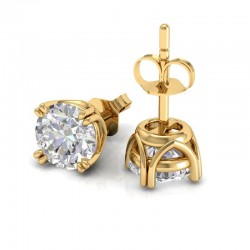 Vintage Double Prong Diamond Stud Earrings In 18K Yellow Gold