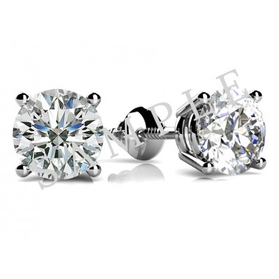 Three Prong Diamond Earrings in Platinum gallery cover image