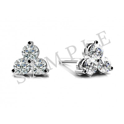 Three Prong Diamond Earrings in 18K Orlanium gallery cover image