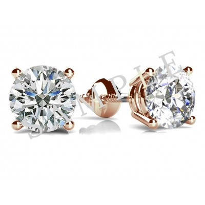 Three Prong Diamond Earrings in 18K Rose Gold gallery cover image