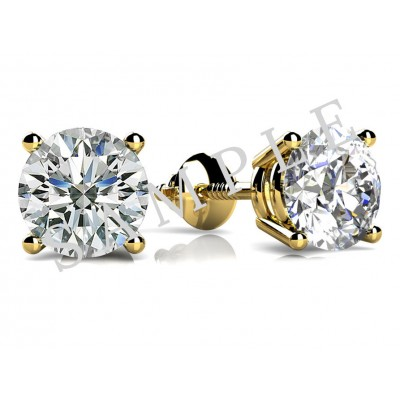 Three Prong Diamond Earrings in 18K Yellow Gold gallery cover image