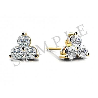 Four Prong Diamond Earrings in 18K Yellow Gold gallery cover image