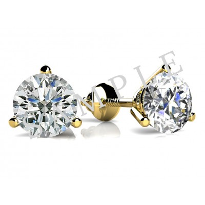 Bezel Diamond Earrings in 18K Yellow Gold gallery cover image