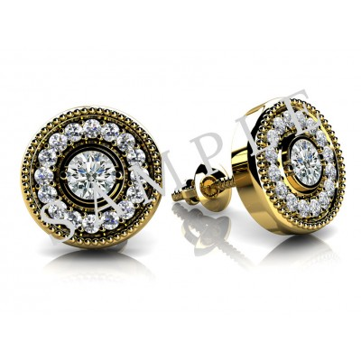 Bezel Diamond Earrings in 18K Rose Gold gallery cover image