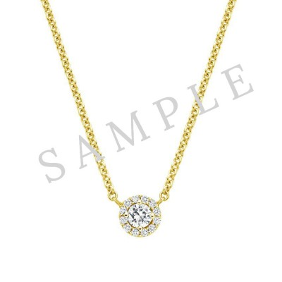 Four Prong Diamond Pendant  in 18K Yellow Gold gallery cover image