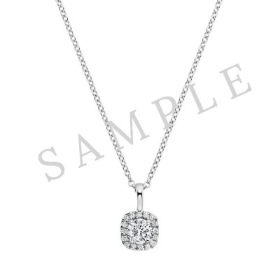 Four Prong Diamond Pendant  in 18K White Gold gallery cover image