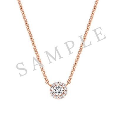 Three Prong Diamond Pendant in 18K Rose Gold gallery cover image