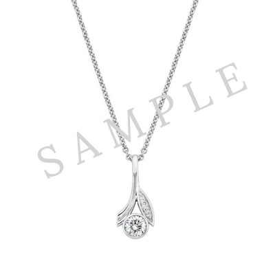 Three Prong Diamond Pendant in 18K White Gold gallery cover image